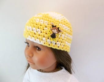 18 inch Doll  Crochet Hat Fits American Girl Doll Yellow and White with Flutterbug Accessories Toys