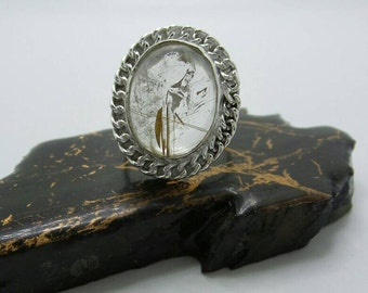 Rutilated Quartz Silver Ring, size 8.