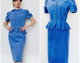 Blue Suede Vintage Peplum Suit/ 80s does 40s Periwinkle 2 Piece Suit/ 1940s Style Short Sleeve Women's Suit/ Peter Pan Collar + Pencil Skirt