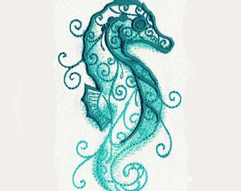 Seahorse Aqua Marine Tea Towel | Embroidered Towel | Embroidered Kitchen Towel | Personalized Kitchen Towel | Embroidered Tea Towel