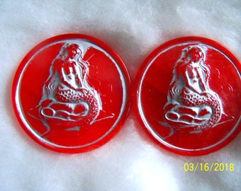 Czech  Moonglow Glass Exclusive  Buttons  2 pcs    MERMAID    41mm     EX 3