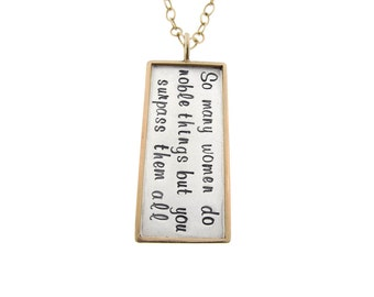 Custom Necklace Hand Stamped Noble Woman Proverbs 31:29 14K Rimmed Rectangle Charm Personalized Jewelry Mixed Metal Jewelry