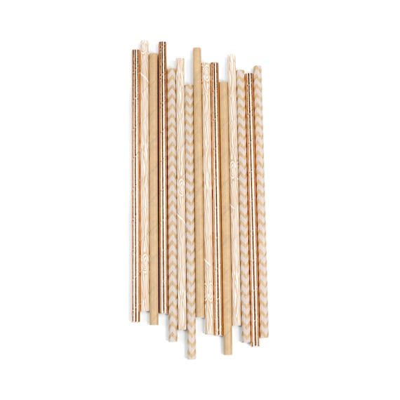 Caramel Macchiato Straw, Paper Straw, Neutral Straw, Rose Gold Straw, Rose Gold Decor, Wedding Table, Food Decoration, Bridal Shower, Baby