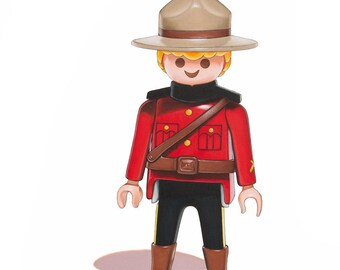Canadian Mountie Print, Playmobil Toy Art, Kids Wall Decor, Mountie Wall Art, Boys Room Art, Childrens Art Print, Nursery Art Print, 8x10