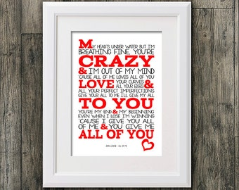 John Legend song lyric  All of me Typography 8x10 wall decor picture mount & music Print Typography for framing (No Frame)