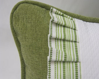 Custom Sage Green Chenile Pillow Cover with White Fabric Accent and Pleated Trim