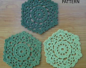 Crocheted Home Decor Pattern   Hexagonal Table Mats   PH 102