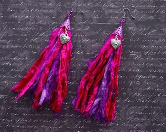 Fuscia and Purple Sari Silk Earrings with Heart