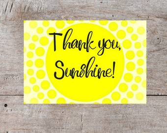 Printable Thank You Card, Thank You Card, Digital Thank You Card, Sunshine Card, Sunshine Thank You, Thank you Sunshine, Printable Card