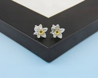 Daffodil Earrings In Silver And Gold