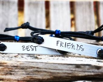 Best friends bracelet- set of 2, Custom Hand Stamped Bracelet, Quote Bracelet, bulk stamped bracelets, bulk gift idea, unique