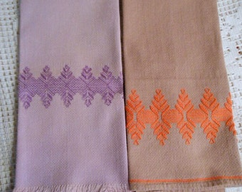 2 Lilac & Mauve TEA TOWELS Orange Purple Geo Swedish Embroidery Designs, Sturdy Washable Huck Cotton 16 x 24 1960's Vintage Handmade Guest