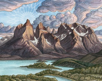 Torres del Paine 10x14 Archival Print - Mountain Climbing Art Giclee - Patagonia, Chile Landscape Painting