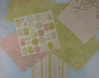 Assortment of paper for scrapbooking, spring feast fantasy