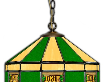 """Tiki Bar Stained Glass 16"""" swag lamp"""