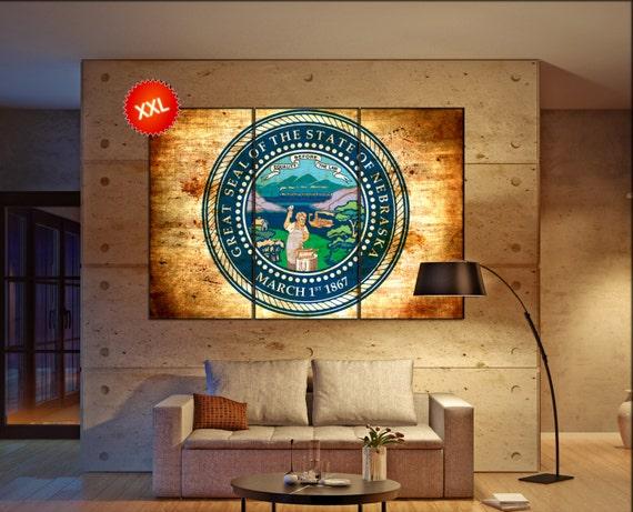 nebraska seal flag  canvas nebraska seal flag wall decoration nebraska seal flag canvas art nebraska seal flag large canvas