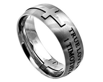 "Square Cross Ring ""True Love Waits"""