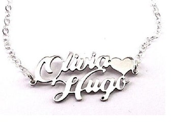 Couples name necklace