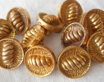 Set of 11 VINTAGE Small Metalized Plastic Gold BUTTONS