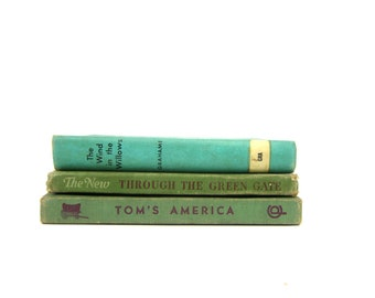 Antique Green Book Decor Childrens Hardcover books Green Book Collection Vintage Paper Ephemera Wind in the Willows Alice and Jerry Books