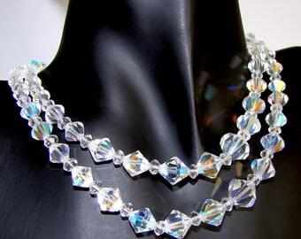 Vintage Crystal Necklace, Aurora Borealis Bicone Crystals, Double Strand, 16 1/2 Inch Length