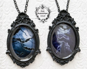 Gothic cameo necklaces-brooches with bat  prints-CHOOSE PATTERN-gothic jewelry-halloween