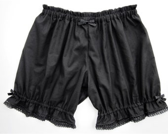 Womens Bloomers / Black Cotton with Lace / Pajama Shorts / Bloomers Women