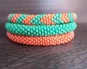 Tangerin and Green Chevron Crocheted Beaded Bracelet Set, Handmade in Nepal, Seed Beads, Bohemian
