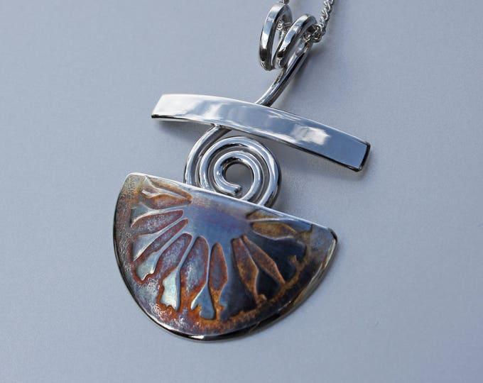 Aztec Dawn Pendant, Silver Jewelry, Silver Jewellery, Abstract Silver Necklace.
