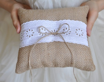 Burlap ring pillow White cotton trim Burlap Ring Bearer Cushion Ring cushion Woodland / Rustic / Cottage style Weddings