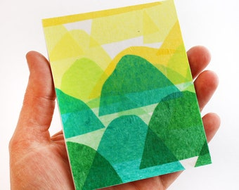 Original Miniature Artwork for the Modern Home -  Big Ombre Mountains