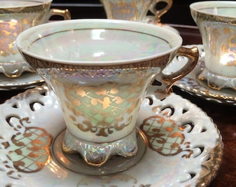 FOUR TEA SETS, 8pc. Lusterware Tea Set, Royal Crown Lusterware, Fine China Lusterware Tea Set