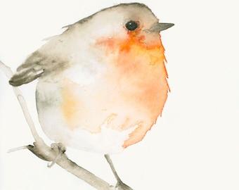 Watercolor Bird Art Robin Print