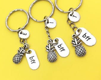 Set of 3 Personalized BFF Best friends keychain - set of three, BFF charm,3 BFF keychain, set of 3 best friend,customized keychain,monogram
