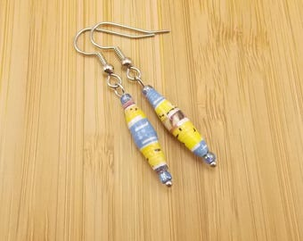 Opposites Attract! Paper Bead Earrings - Rwandan Paper Beads - Long - Yellow, White, Blue, Purple, Brown