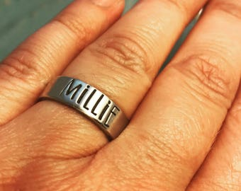 MOTHER RING ~ Pewter Mommy Ring ~ Personalized ~ Stamped Kid's Name ~ Organic Mama Bear ~ Anniversary ~ Mom ~ Children's ~ Mommy Gift