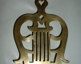 Vintage Older Brass Large Trivet Musical Lyre Shaped