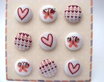 Buttons - brads - tissue - fabric - hearts - butterfly - set of 9 buttons brads
