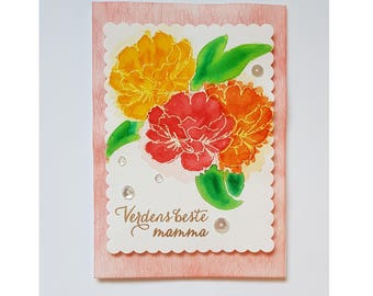 Water colored flowers Mother's Day card