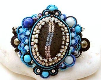 black lava soutache large cuff - aquamarine statement bead embroidered cuff - haute fantaisie  luxury gift - lapis lazuli Swarovski crystal