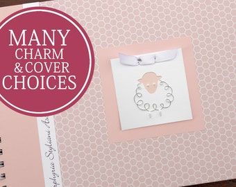 Baby Memory Book Girl | Baby Album Photo Book & Journal | Personalized | Pink Honeycomb with Lamb Charm