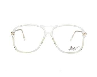 transparent aviator glasses - crystal clear vintage eyeglasses frames - 80s new old stock clear frame glasses
