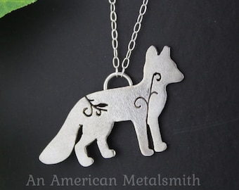 Sterling Silver Fox Necklace, Fox Jewelry, Fox Charm, Animal Charm, Filigree Necklace, Animal Necklace, Silver Fox Pendant, Gift for Her