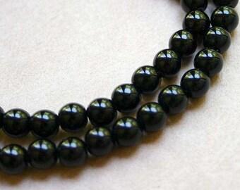 66pcs  Preciosa Czech Pressed Glass Beads 6mm Druk Round Black Opaque 6mm 16in