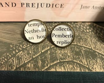 Literary Earrings, Pride and Prejudice book page