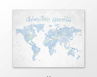 Large world map poster, adventure awaits nursery decor, watercolor, kids art printable, colorful blue stars, digital image z11 041 p102