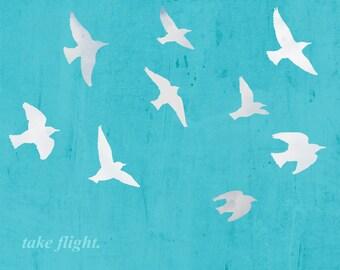 Birds in flight blue silhouette typography motivational inspirational Dorm decor - 8 x 10 art print by Dawn Smith