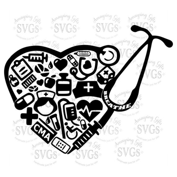 SVG CMA Stethoscope Heart DXF Certified Medical