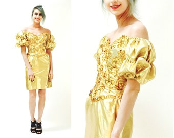 Metallic 80s Prom Dress Gold Size XXS XS by Mike Benet// Vintage 80s Party Dress Metallic Gold Sequin Dress XS Pageant Trophy Dynasty
