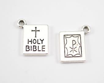 10pcs - Antique Silver Holy Bible Charms - 17mm x 14mm - Bulk - Wholesale - Bracelet Charms - Religious Church DIY - D11